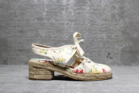 Vtg 70s 80s Floral Cut Out Chunky Platform Leather Lace Up Espadrilles Sandals 5.5M 5 1/2
