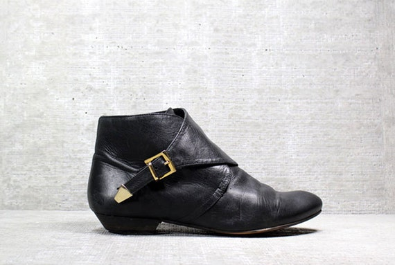 Vtg 80s Black Avant Garde Leather Granny Ankle Boots 37 6.5 6 1/2