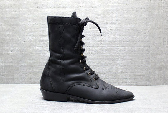 Vtg 80s Black Leather Western Tall Lace up Roper Boots 9
