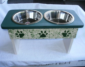 hand made raised pet feeder , med. to large