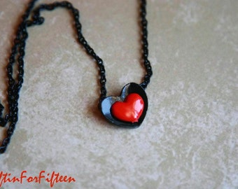 Hold Me - Vintage Style Jewelry Black And Red Metal Heart Necklace OOAK Gifts For Under Fifteen Dollars by Giftin For Fifteen