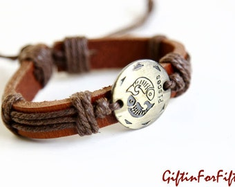 Pisces - Zodiac Horoscope Constellation Genuine Leather Bracelet Bangle With Waxed Cord Raw Sienna Color OOAK by Giftin For Fifteen