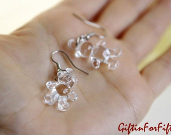 Crystal Clear - Nerdy Style Jewelry Clear Acrylic Teddy Bear Dangle Earrings OOAK Gifts For Under Fifteen Dollars by Giftin For Fifteen