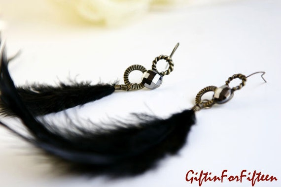 Aerial - Vintage Style Jewelry Black Feather Dangle Earrings OOAK Gifts For Under Fifteen Dollars by Giftin For Fifteen