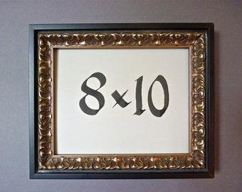8 x 10 black/silver color wood ornate art picture frame
