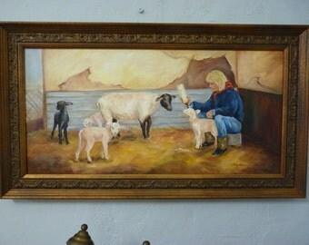 Lambs sheep oil painting