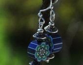 clay flower hippie bohemian earrings blue