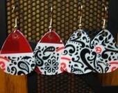 Guitar Pick Earrings from Plastic Gift Cards Starbucks Black White Red - Mix & Match 4 Earrings