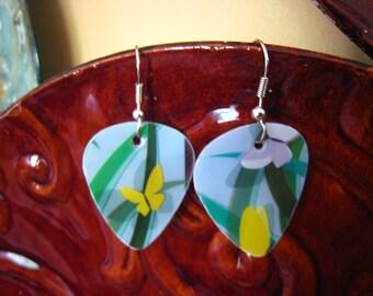 Guitar Pick Earrings from Upcycled Plastic Gift Cards Starbucks Spring Butterfly Handmade