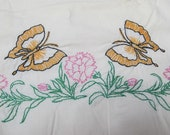 Vintage pillowcase pair with butterflies and roses