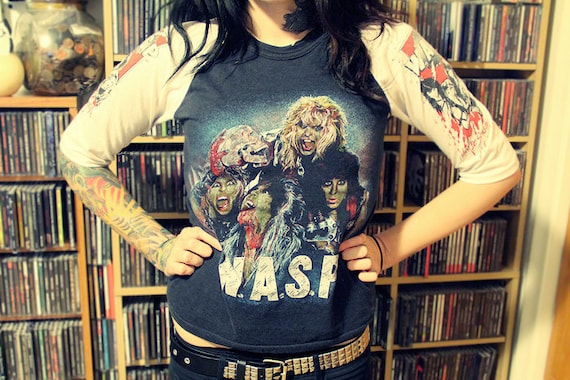 "Vintage W.A.S.P. ""I Wanna Be Somebody"" Baseball Shirt 1980s"