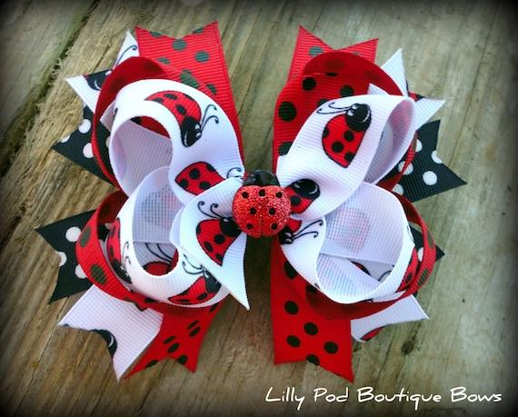 Ladybug Medium Boutique Bow