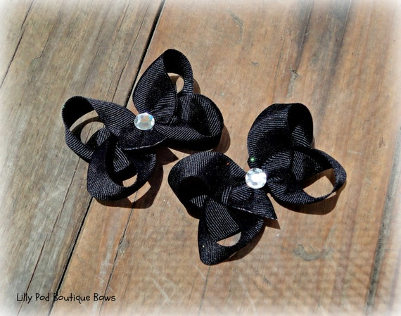 Black Toddler Bows Pigtail Bows