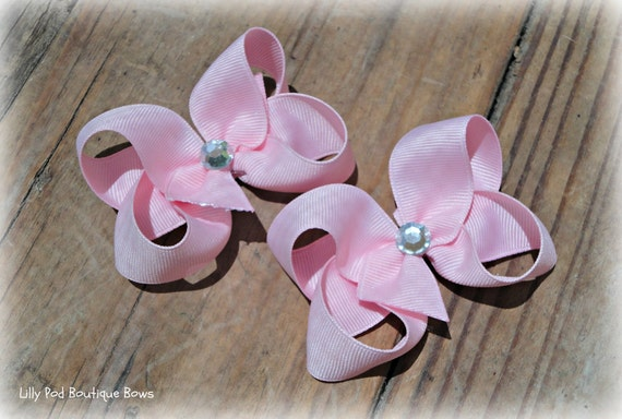 Light Pink Toddler Bows Pigtail Bows