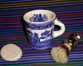 Vintage Blue Willow Shaving Mug and Brush