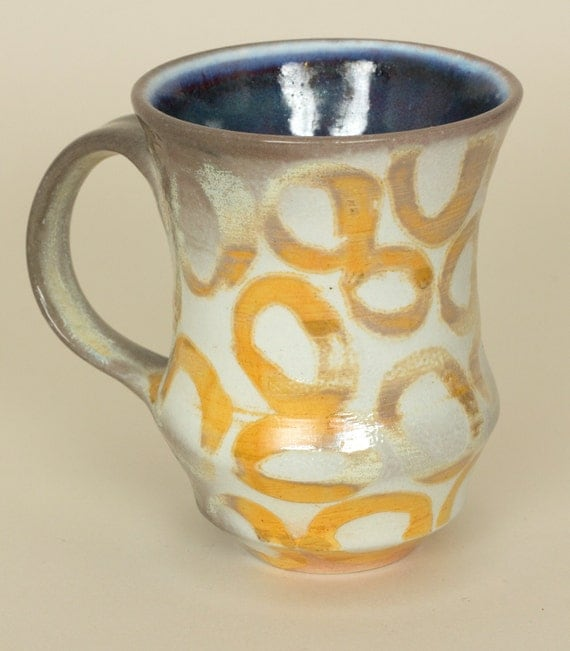 Orange, Gray, and White Mug with Circle Pattern