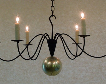 Mercury Chandelier with silver leaf, 6 arms, midnight blue traditional lighting fixture