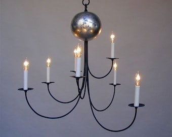 Big Planet Chandelier, silver leaf, 7 arms, large hanging light fixture