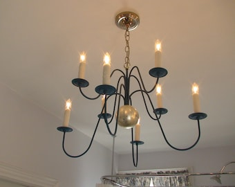 Hudson Chandelier, genuine silver leaf and 8 arms. blue milk paint, traditional light fixture