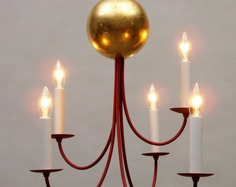 Moon Chandelier, 23 kt gold leaf with 5 arms, red milk paint, traditional light fixture