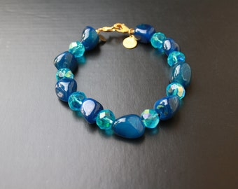 "JACE: 9"" Dark Blue Bracelet Accented with Light Blue Rondelle Beads"