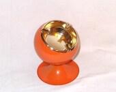 Retro 1960's Orange Sputnik Space Age Art MOD Orb Metal Modern Ashtray Never Used