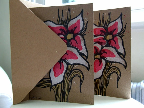 4 Lily flower greeting cards set handprinted limited edition