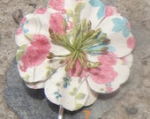 Paper Flower Bobby Pins with Pearls or Stamens - Number 7