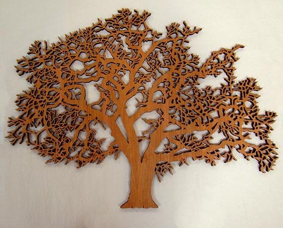 Items similar to laser cut oak tree wall art on etsy for Design divas wall art
