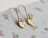 Tiny gold disc earrings, gold filled earrings, delicate earrings for every day
