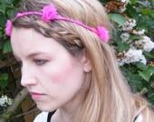 Pink silk chiffon flower headband