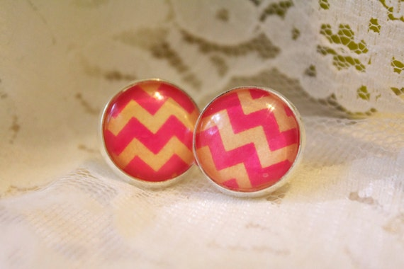 Pink and Orange Chevron Earrings