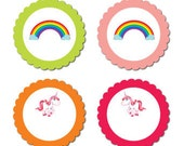 Rainbow Unicorn - Cupcake Toppers & Treat Signs (75mm - 14pk)