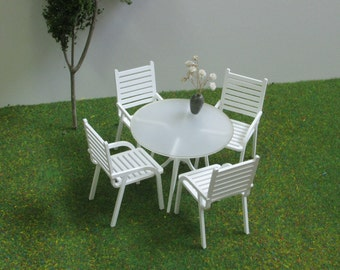 4 Seater PATIO SET,1:12 scale,DOLLHOUSE Modern Style Garden Furniture - Chairs & Table