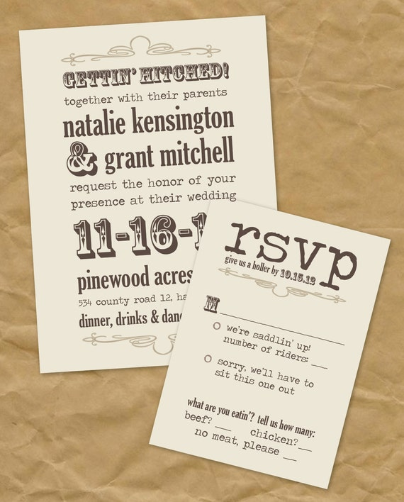 Western Wedding Invitations: Western: Gettin' Hitched Wedding Invitation By