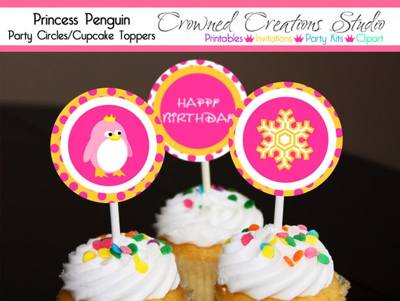 Penguin Birthday Cupcake Toppers or Party Circles - Princess Penguin Party Printables