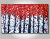 """ORIGINAL Large Birch Trees, Red, Orange, Black, Gray, Textured Abstract Impressionism Acrylic Painting (Number 8) - Size: 48"""" x 30"""""""