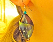 Unique blown glass earrings : large dangle earings with gold flake