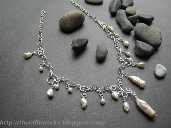 Stering silver chain necklace,  delicate vines and tendrils, chandelier style necklace, with many hanging white freshwater pearls
