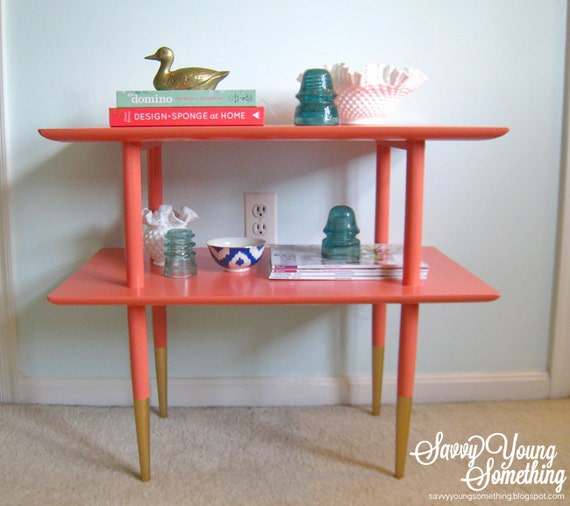 Mid Century Modern Henredon Coral Table With Gold Dipped Legs