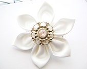 Bridal Wedding Hair Accessories Pure White Kanzashi Hair Flower with Filigree Center and Swarovski Crystal