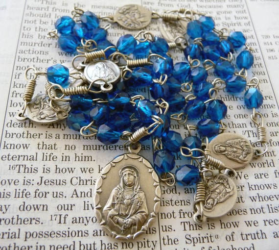 Chaplet of the Seven Sorrows of Mary - blue fire-polished glass
