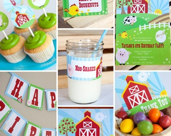 Farmyard Birthday Party Theme for a Boy or Girl - Farm Birthday Party Decor - Instant Download and Edit at home with Adobe Reader