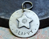 large custom dog tag, sterling silver