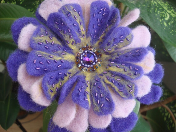 SALE SALE SALE Stunning Purple Felted Flower Pin with Swarovski