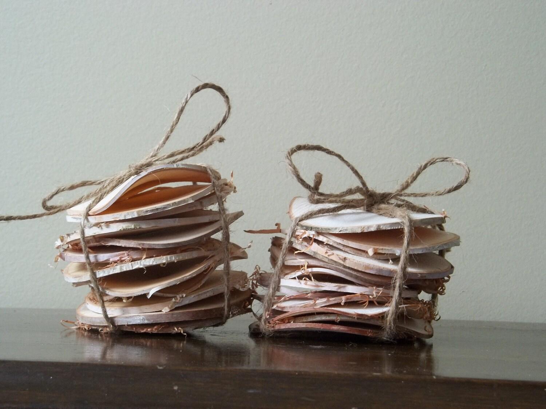 Two dozen 24 natural white birch wood chips craft supplies for White birch log crafts