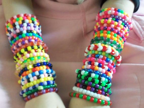 50 Kandi Rave Bracelets, Colorful, Cute