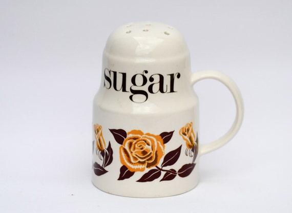 Vintage Sugar Shaker Retro Kitchen roses design ceramic suger duster