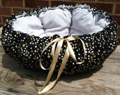 Designer Style BUTTERCUP Drawstring CUDDLE CUP Pet Bed - Cat Bed and Dog Bed - Gray-n-Yellow Polka Dots