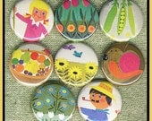 """8 retro Mod SPRING set 1"""" inch buttons, medallions or magnets SET A"""